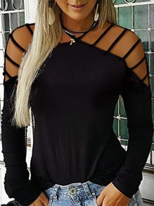 Black Cut Out Going out Fashion Comfy Long Sleeve Blouse