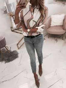 White Print Going out Fashion Comfy Long Sleeve Blouse