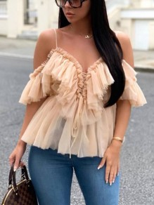 Apricot Patchwork Grenadine Cascading Ruffle Lace-up Spaghetti Strap V-neck Party Blouse
