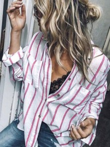 Pink Striped Single Breasted V-neck Long Sleeve Blouse