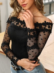 Black Lace Going out Fashion Comfy Long Sleeve Blouse