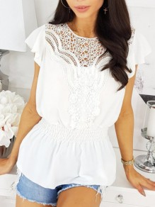 White Patchwork Lace Cut Out Ruffle Short Sleeve Sweet Blouses