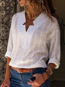White Patchwork V-neck Long Sleeve Fashion Casual Comfy Blouse