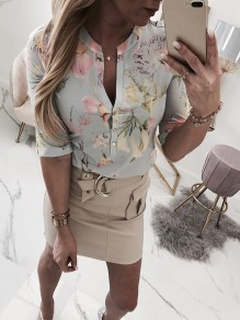 Green Floral Embroidery Print V-neck Elbow Sleeve Fashion Blouse