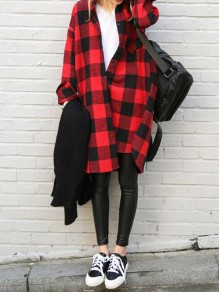Red-Black Plaid Irregular High-low Single Breasted Side Slit Casual Blouse