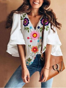 White Floral V-neck Bell Sleeve Mexico Bohemian Blouse