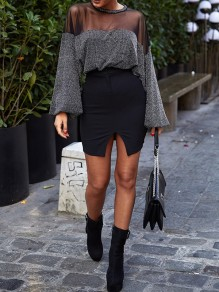 Black Going out Sweet Comfy Blouse
