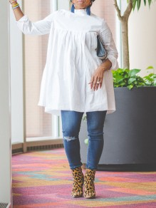 White Pleated Long Sleeve Casual Blouse