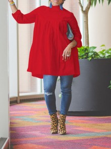 Red Pleated Long Sleeve Casual Blouse