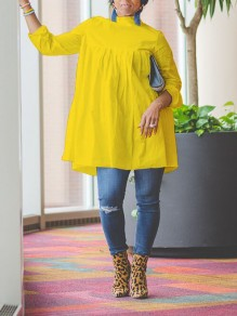 Yellow Pleated Long Sleeve Casual Blouse
