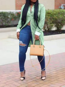 Green Striped Buttons Front Slit Long Sleeve Casual Blouse