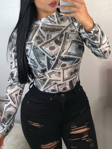 White Money Dollar Bill Print Grenadine Sheer Party Blouse