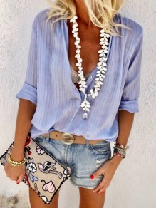 Blue Patchwork Buttons Loose V-neck Long Sleeve Fashion Blouse