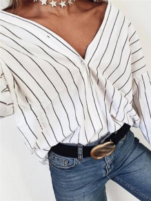 White Striped Buttons Loose V-neck Long Sleeve Fashion Blouse