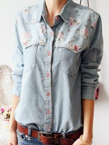 Blue Floral Print Pockets Turndown Collar Long Sleeve Fashion Cute Denim Blouse