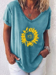 Blue Sunflower V-neck Short Sleeve Casual Fashion Blouse