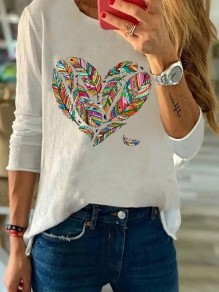 White Heart Feather Round Neck Long Sleeve Casual Fashion Blouse