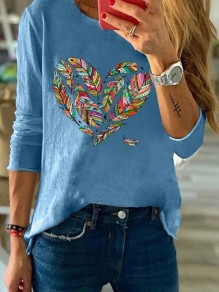 Blue Heart Feather Round Neck Long Sleeve Casual Fashion Blouse