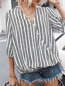 White Button Striped V-neck Elbow Sleeve Oversize Blouse