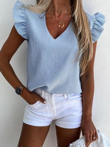 Blue Striped Print Ruffle V-neck Short Sleeve Fashion Blouse