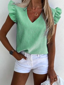 Green Striped Print Ruffle V-neck Short Sleeve Fashion Blouse