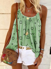 Green Floral U-neck Spaghetti Strap Honey Girl Blouse