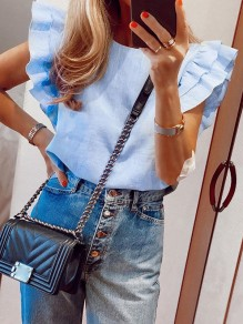 Blue Ruffle Round Neck Going Out Blouse