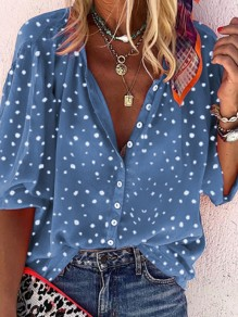 Blue Floral Buttons V-neck Long Sleeve Honey Girl Blouse