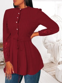 Wine Red Patchwork Lace Pleated Drawstring Long Sleeve Fashion Blouse