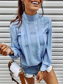 Blue Striped Buttons Band Collar Long Sleeve Elegant Blouse