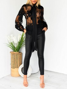 Black Patchwork Lace Grenadine Embroidery Lace-up Bodycon Fashion Blouse