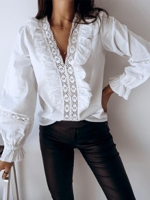 White Patchwork Lace Ruffle V-neck Long Sleeve Fashion Blouse
