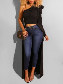 Black Asymmetric Shoulder Pleated Irregular High-Low Party Blouse