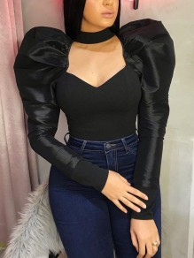Black Cut Out Puff Sleeve Bodycon Party Blouse