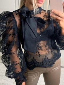 Black Patchwork Lace Bow Sheer Puff Sleeve Party Blouse