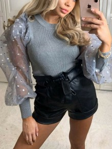 Grey Patchwork Grenadine Polka Dot Puff Sleeve Party Blouse