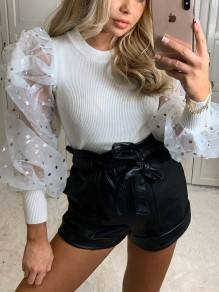 White Patchwork Grenadine Polka Dot Puff Sleeve Party Blouse
