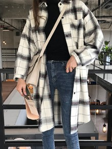 White Grey Plaid Pattern Oversize Long Sleeve Vintage Blouse