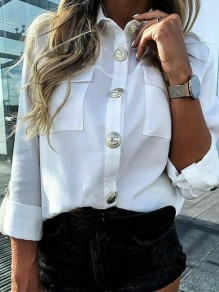 White Patchwork Buttons Pockets Flowy Long Sleeve Elegant Blouse