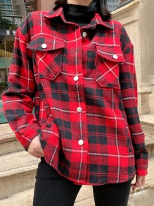 Red Plaid Single Breasted Pockets Turndown Collar Long Sleeve Blouse