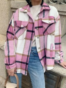 Pink Plaid Buttons Pockets Turndown Collar Long Sleeve Fashion Blouse