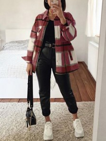 Red Plaid Buttons Pockets Turndown Collar Long Sleeve Fashion Blouse