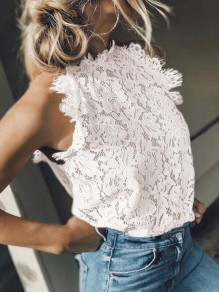 White Patchwork Lace Cut Out Round Neck Sleeveless Fashion Blouse