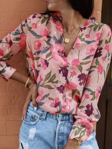Pink Floral Pattern Buttons V-neck Long Sleeve Elegant Blouse