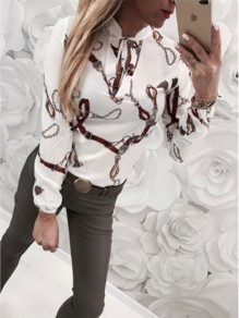 White Flora Cut Out Pattern Bodycon Chiffon Long Sleeve Going out Blouse