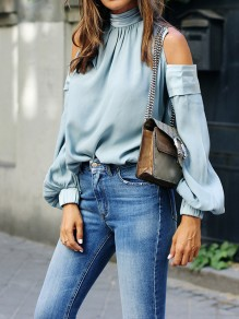 Blue Tailored Long Sleeved Round Neck Trendy Fashion Blouse