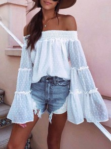 White Chiffon Polka Dot Ruffle Off-Shoulder Flare Sleeve Fashion Blouses