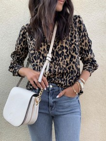 Brown Leopard Buttons V-neck Long Sleeve Fashion Blouse