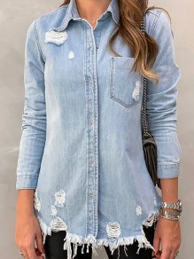 Light Blue Single Breasted Pockets Cut Out Long Sleeve Jeans Blouse