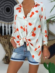 White Floral Pattern Single Breasted Bodycon Comfy Going out Blouse